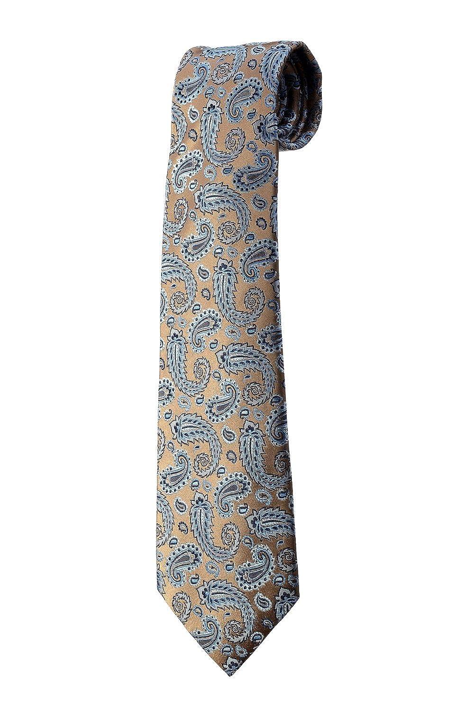 Oh La Belle Cravate Corbata 7 capas 100% Seda Azul Paisley dorado ...
