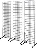 Only Hangers 2' x 6' Grid Wall Panel Floorstanding Display Fixture with Deluxe T-Style Base, Black. Three-Pack Combo.