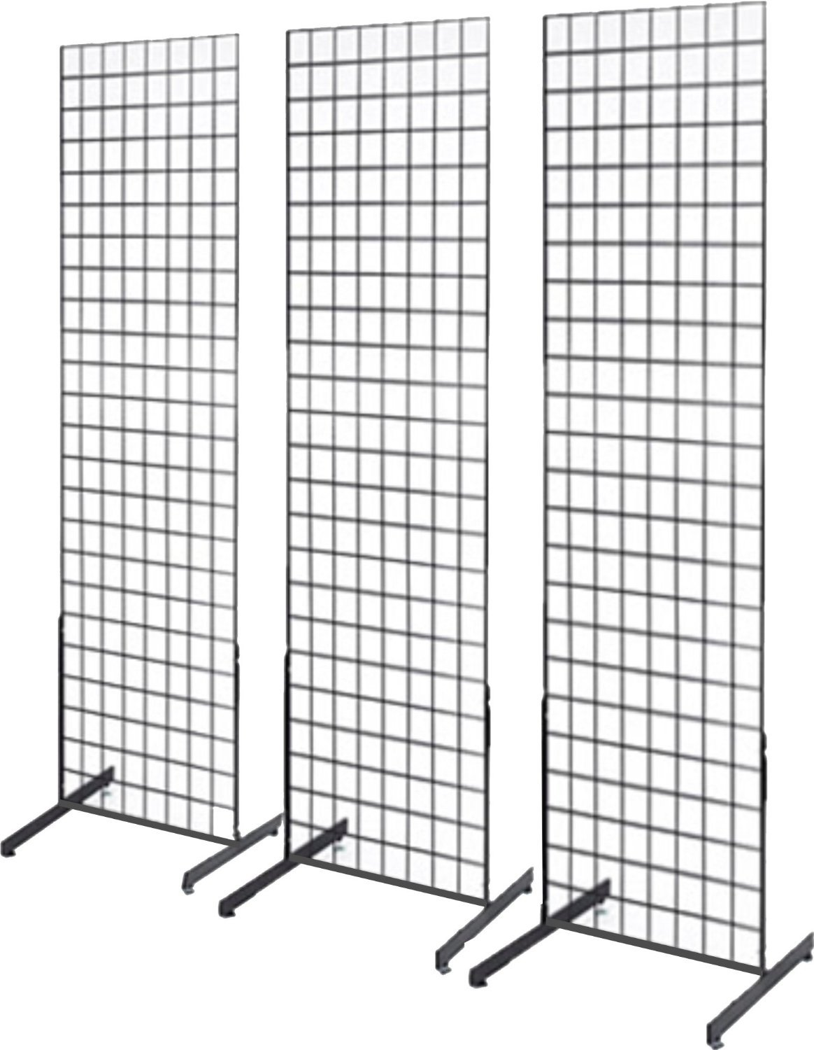 Only Hangers 2' x 6' Grid Wall Panel Floorstanding Display Fixture with Deluxe T-Style Base, Black. Three-Pack Combo. by Only Hangers