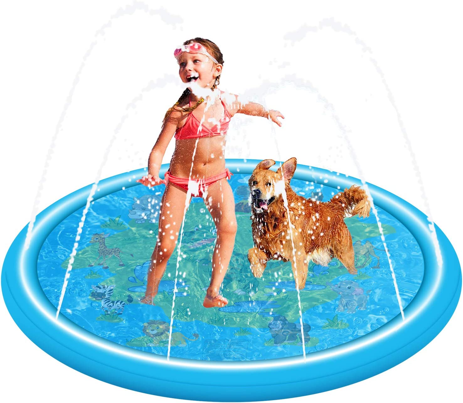 Leaflai Kids Sprinkler and Splash Pad Inflatable Wading Pool Water Mat for Children Toddlers Baby Summer Outdoor Play Toys Blue, Dinosaur