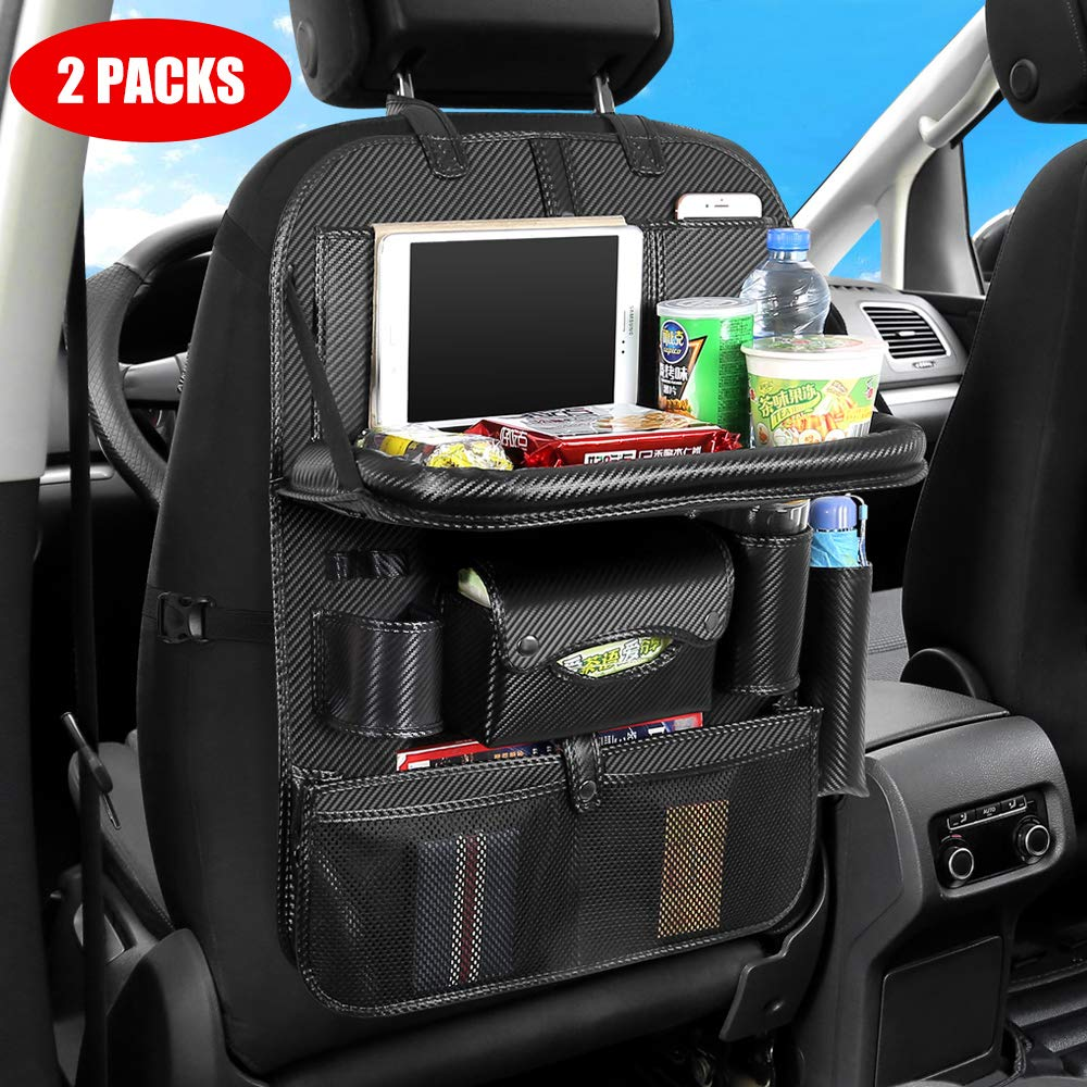 Car BackseatOrganizerwith Foldable Table Tray,Car Seat ProtectorwithTablet Holder + 11Storage Pockets Back seat Organizer for Kids Toys Storage by Yunhoo