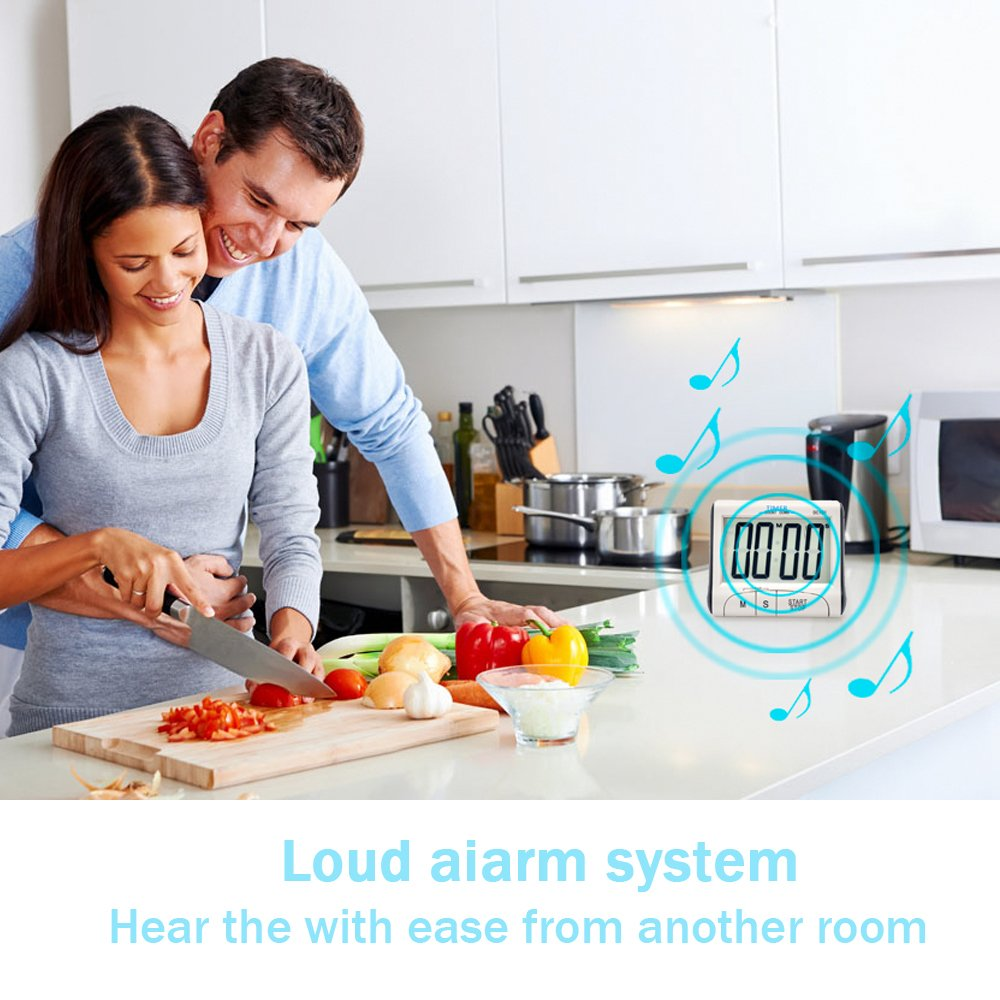 Loud Sounding Alarm 5 Pack Senbowe/™ Digital Kitchen Timer//Cooking Timer with Large Display Screen Retractable Stand Strong Magnetic Backing