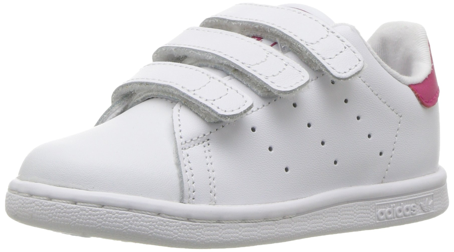 adidas Originals Girls' Stan Smith CF I Sneaker, White/White/Bold Pink, 8.5 M US Infant