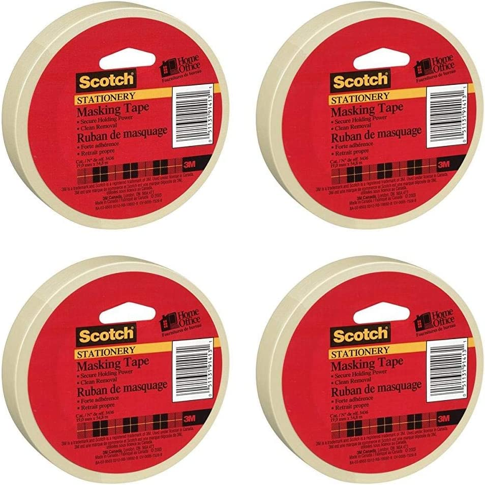 Scotch(R) Home and Office Masking Tape, 3/4-Inch x 54.6 YardsTan (3436) Pack of 4