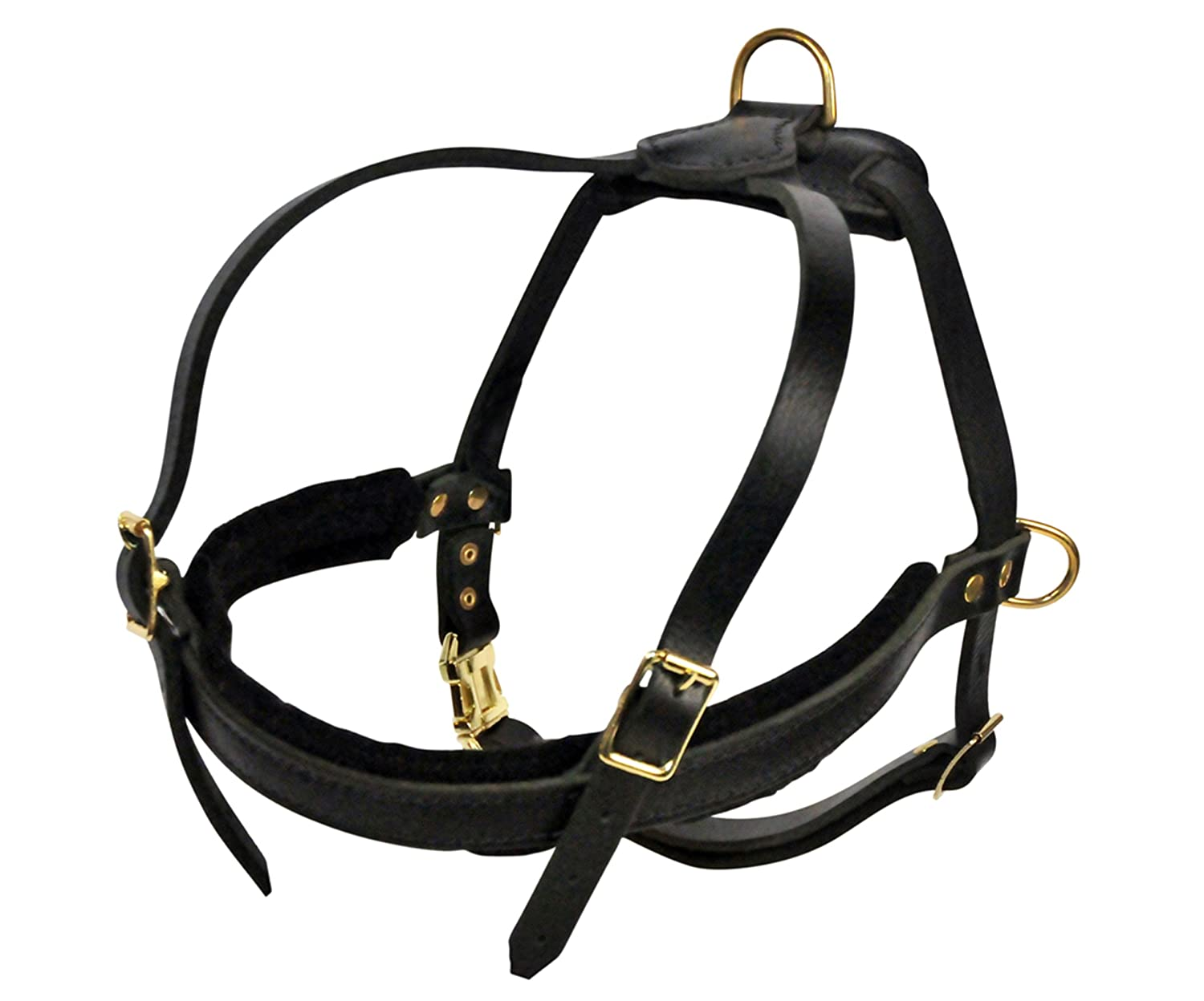 Dean and Tyler The Cowboy Solid Brass Hardware Leather Dog Harness, Black, Small Fits Girth Size  20.5-Inch to 28.5-Inch
