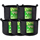 VIVOSUN 5-Pack 15 Gallon Plant Grow Bags, Heavy Duty Thickened Nonwoven Fabric Pots with Handles