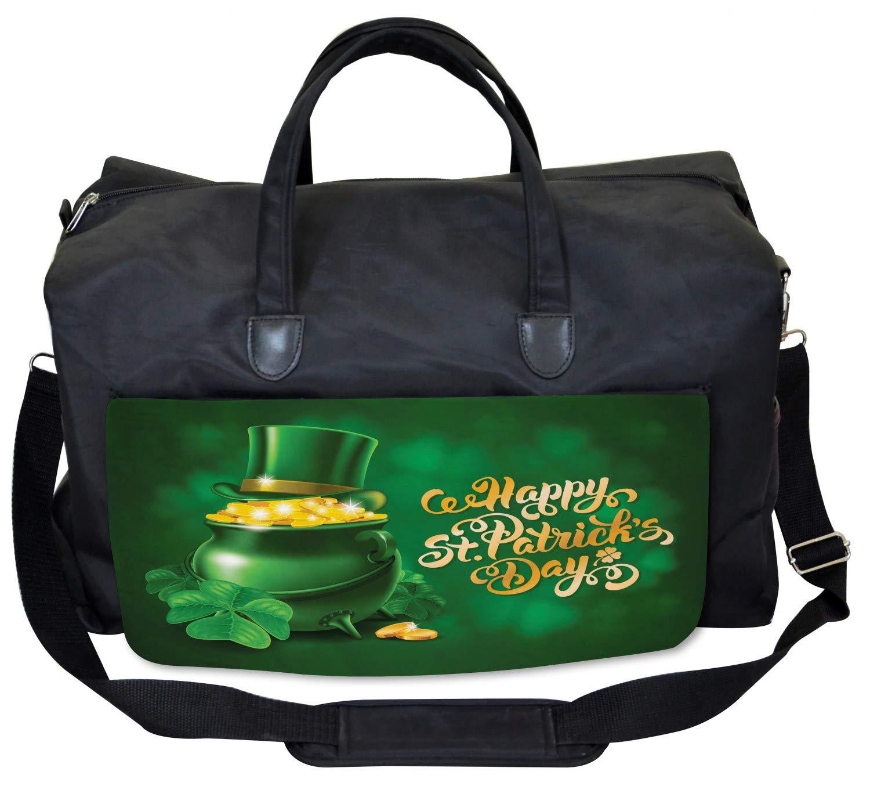 Irish Pot of Gold Ambesonne Celebration Gym Bag Large Weekender Carry-on