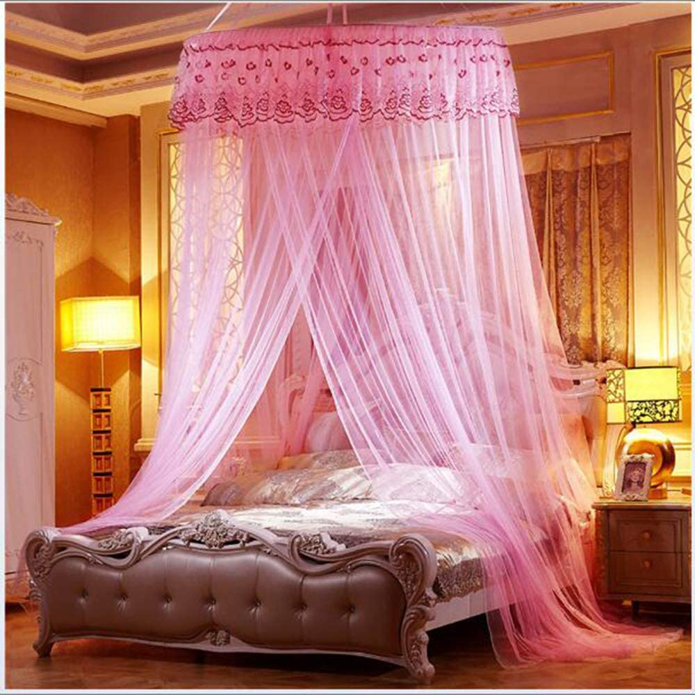Awlly Round Ceiling Mosquito Net 360&Deg; Anti-Mosquito Lace Lace Stainless Steel Bracket Easy zu Install Indoor Decorations,Pink