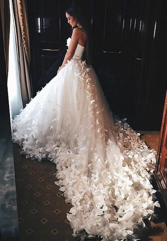 Aoturui Prinzessin Hochzeitskleider mit Blumen Schmetterlinge