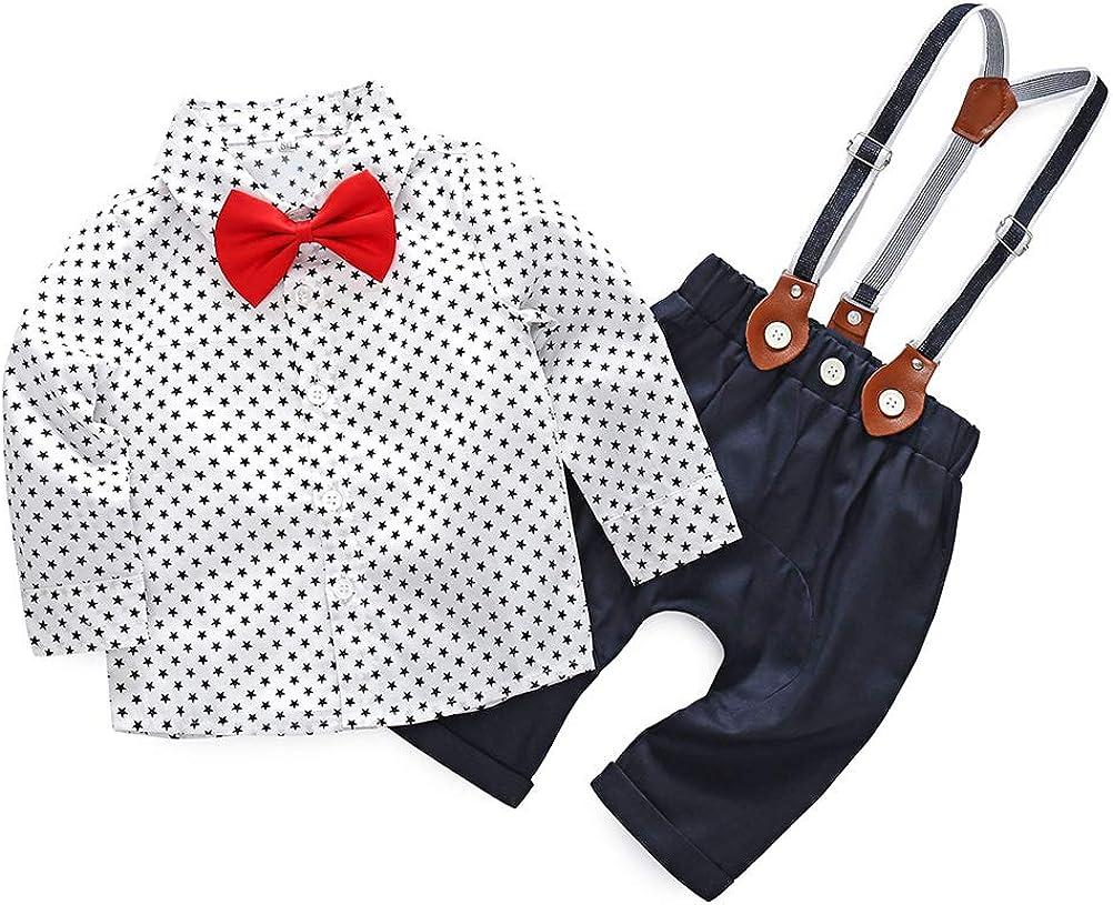 Fliege Geburtstag Party Smoking Tuxedo Hochzeit Formal Anzug Festliche Taufanzug Foto Bekleidungsset 0-6 Jahre Hose mit Hosentr/äger IWEMEK Baby Junge Gentleman Outfit Langarmshirt Hemd