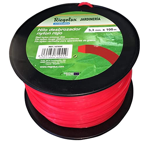 Riegolux 107699 Hilo Desbrozadora Nylon Cuadrada, Rojo, 3.3 mm x ...