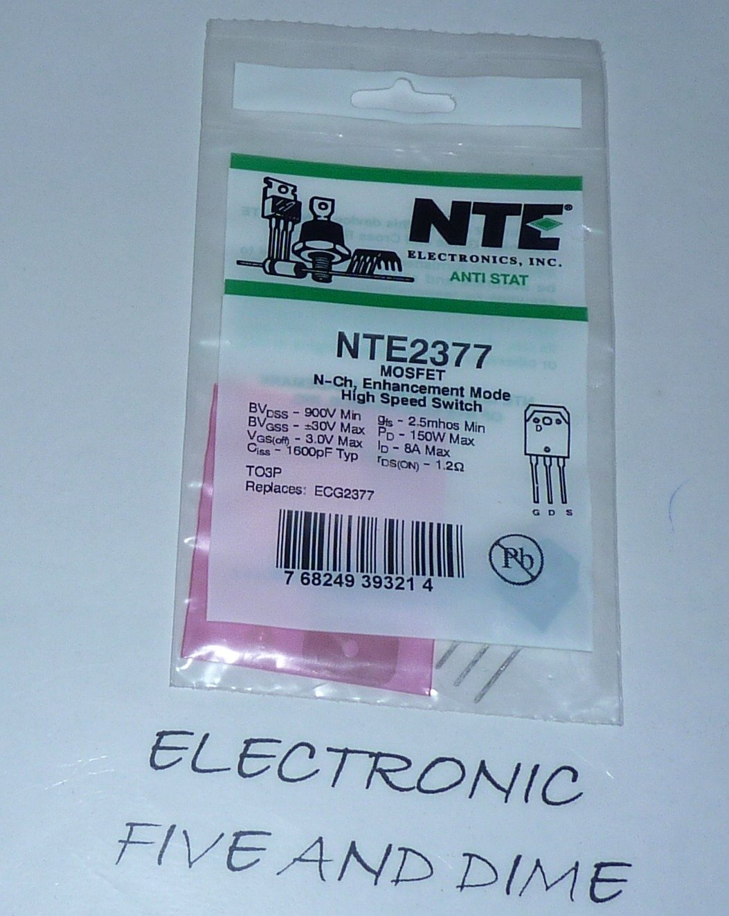 NTE Electronics NTE2377 N-Channel Power MOSFET Transistor, Enhancement Mode, High Speed Switch, TO3P Type Package, 900V, 8 Amp