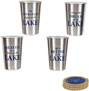 Stainless Steel Fun Lake Life Sayings Drinking Pint Size Tumbler Glassware Set - Life is Better at the Lake, Living the Dream at the Lake Including Coaster Set