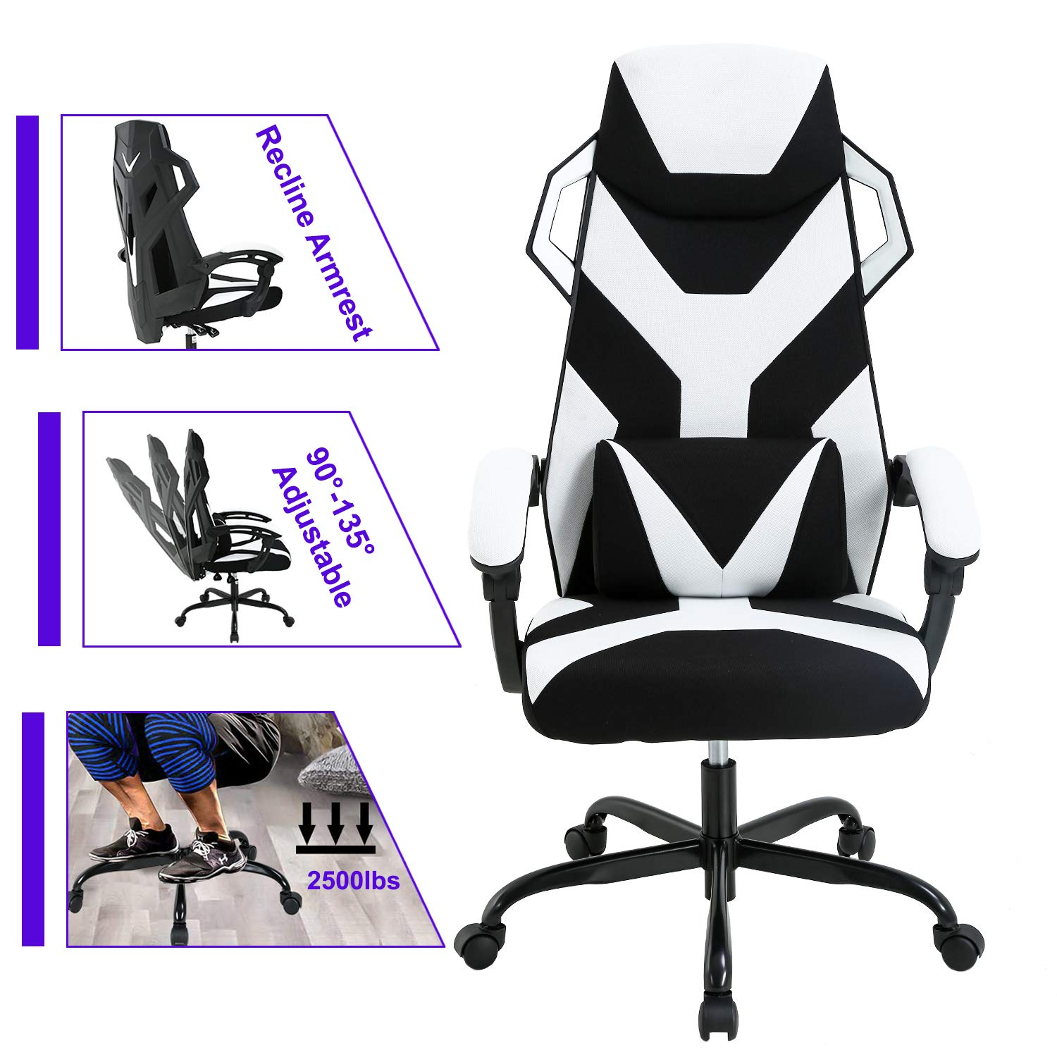 PC Gaming Chair Ergonomic Office Chair Desk Chair Executive Task Computer Chair Back Support Modern Recline Arms Rolling Swivel Chair for Women Men,White by BestOffice