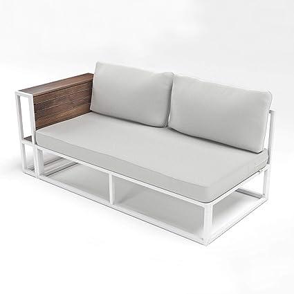 Amazon.com: Aromzen Outdoor White Steel Framed Cushioned ...