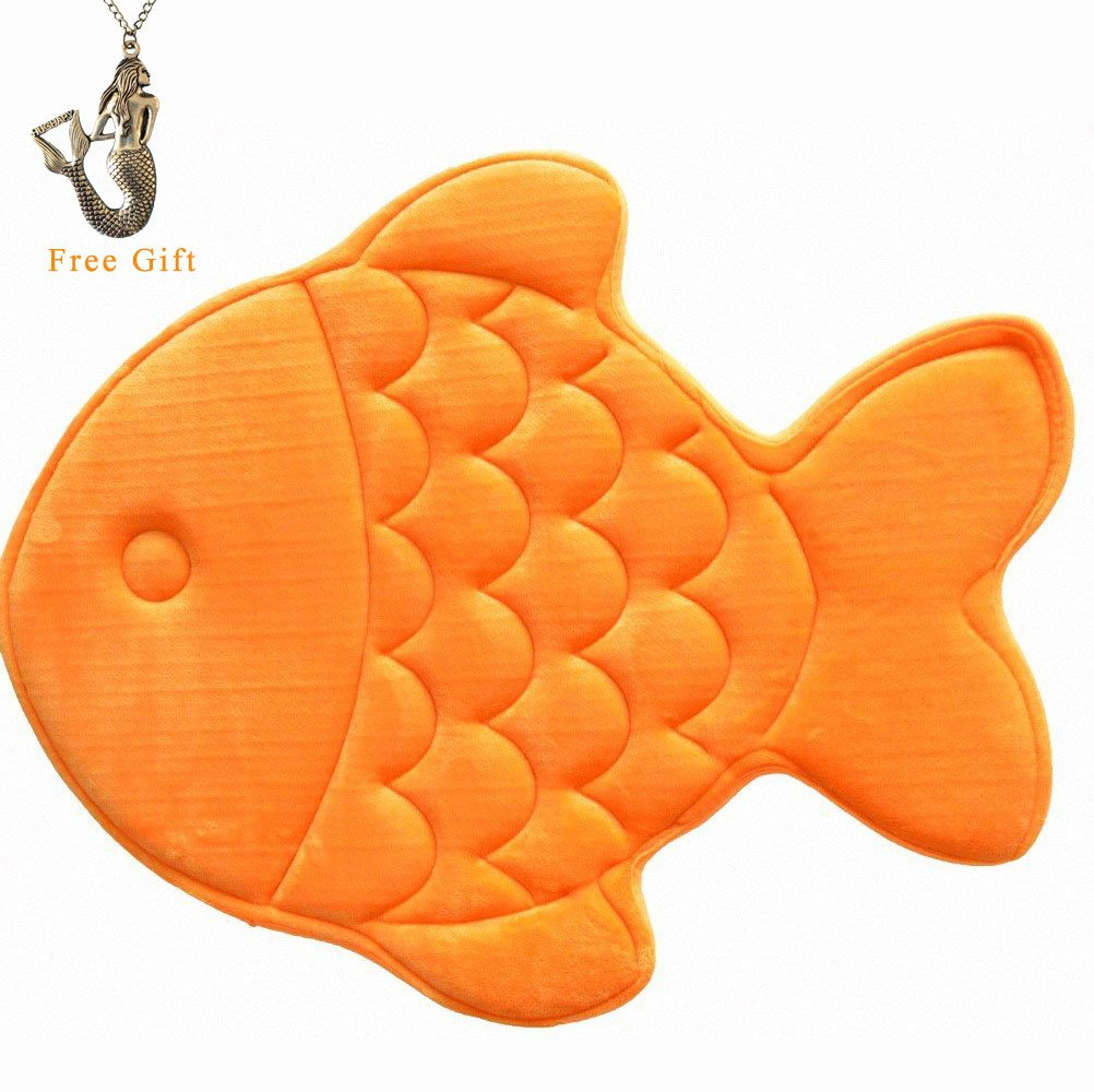 Hughapy Slow Rebound Memory Foam Children Bath Rug Christmas Fish Slip Resistant Coral Fleece Mat Doormat Carpet (Orange) by Hughapy (Image #1)