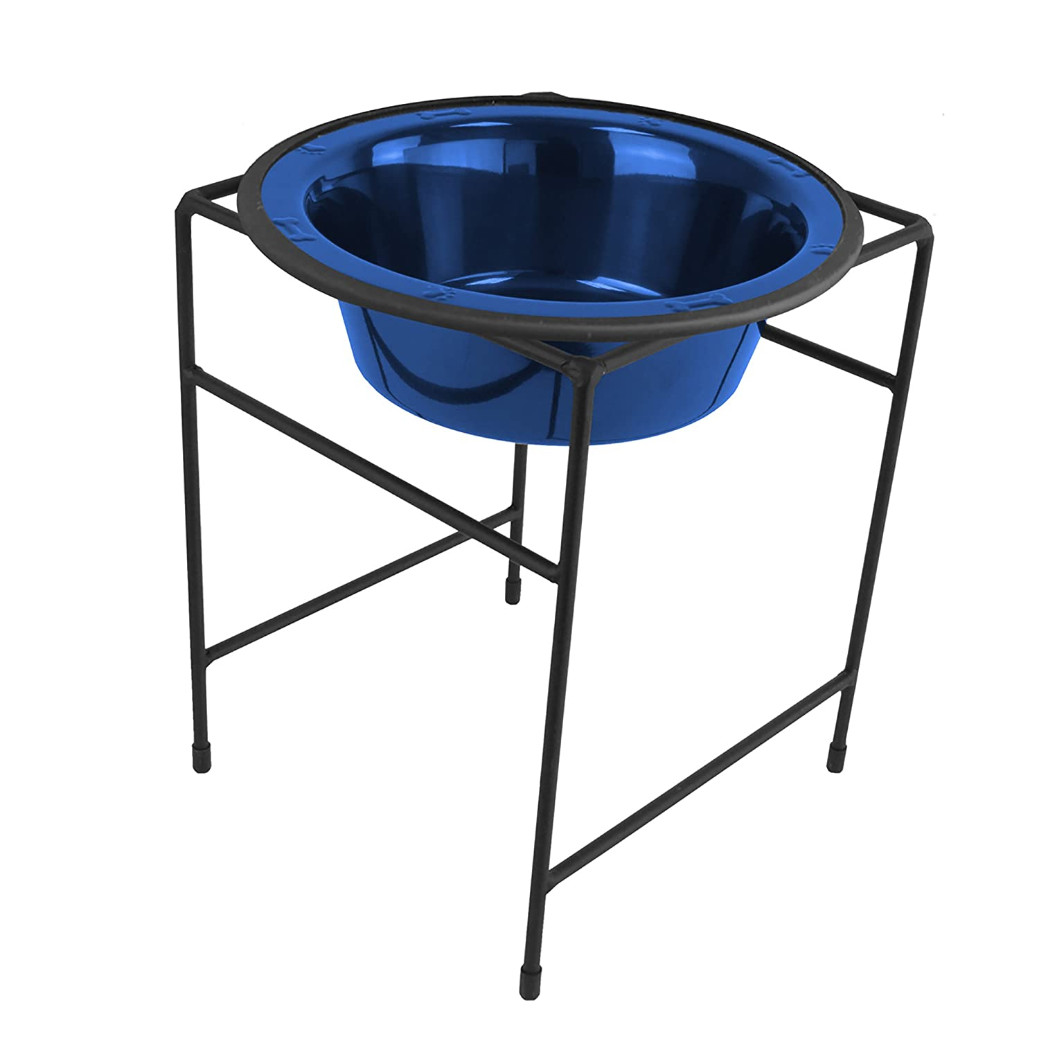 bluee Platinum Pets Modern Single Diner Stand with 54Ounce Rimmed Bowl, Raspberry