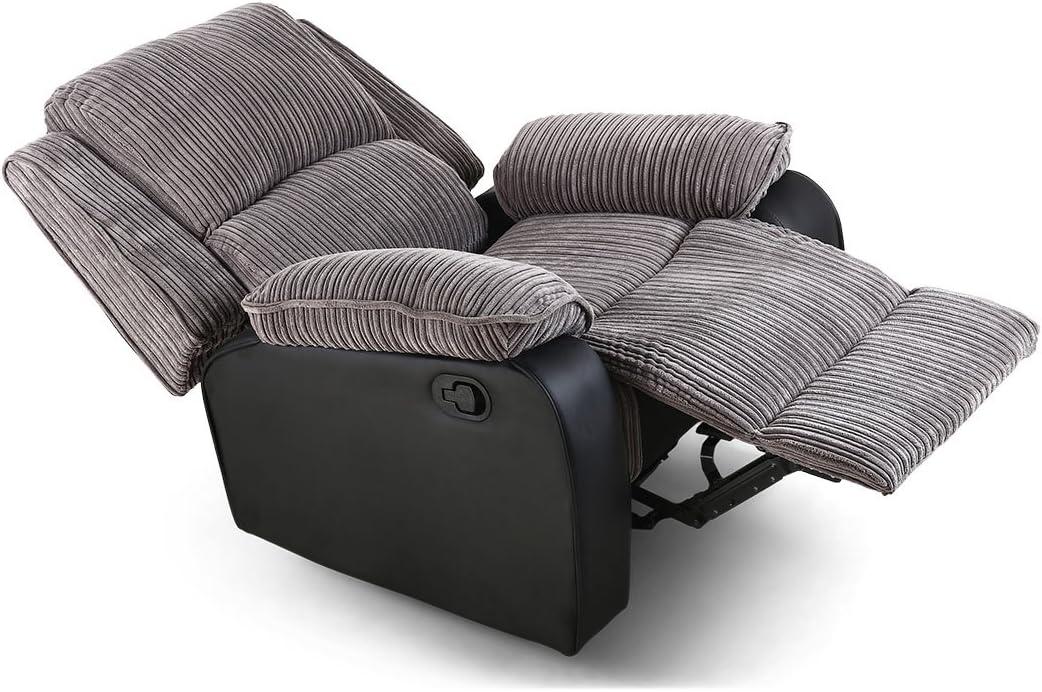 POSTANA Jumbo Cord Fabric Recliner Armchair Sofa Lounge Home Reclining Chair (Grey)
