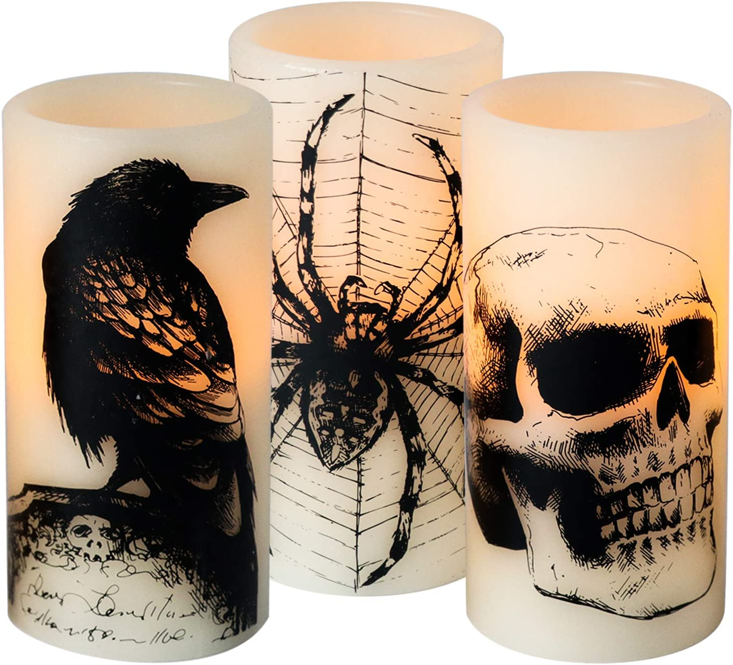 DRomance White Flameless Flickering Candles Battery Operated with Timer, 3 Pack LED Pillar Candles Real Wax Warm Yellow Light Crow, Spider Cobweb, Skull Decal Halloween Spooky Decor Candle(D3