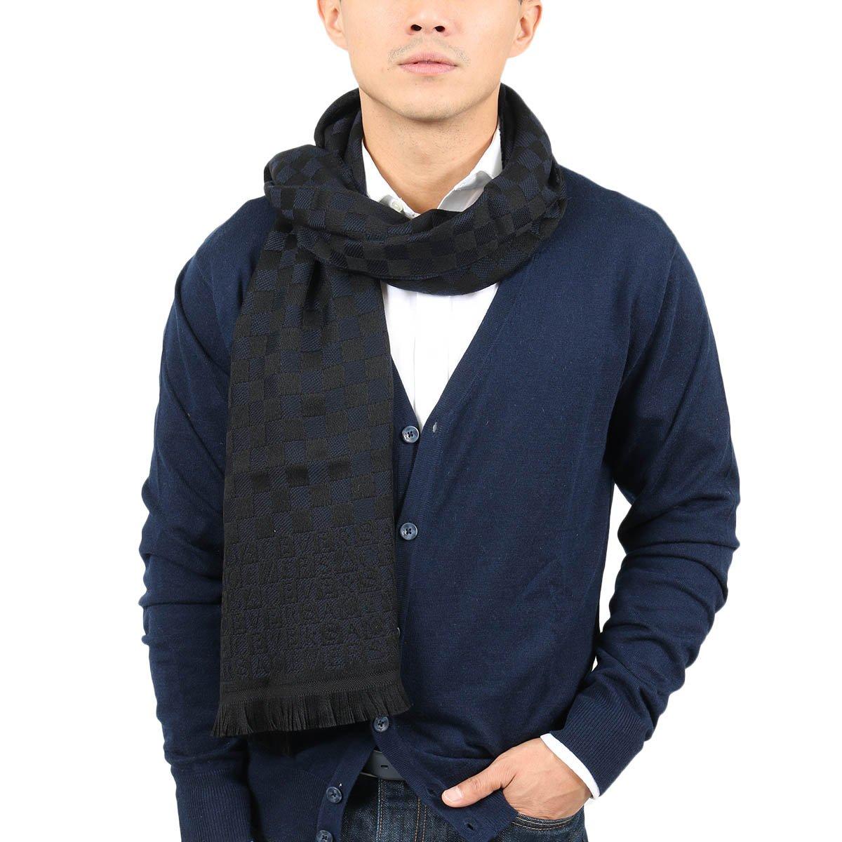Versace IT00628 MARINO Navy Blue 100% Wool Mens Scarf