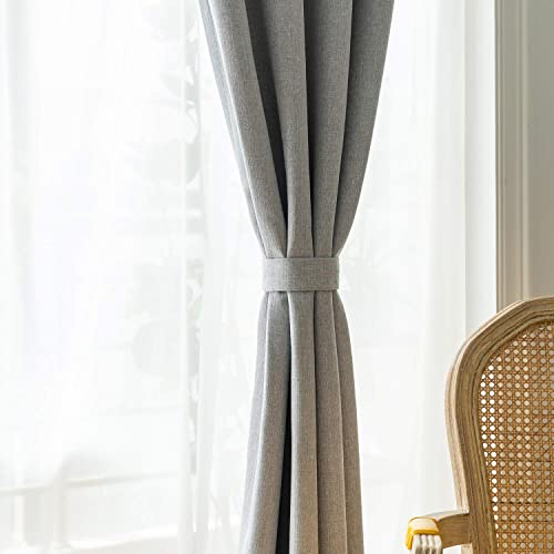 SimplyEasy Faux Burlap Linen Textured Curtains for Living Room Heavy Thick Thermal Insulated Window Panel Curtains for Bedroom, Set of 2 Panels 52 x96 , Grey