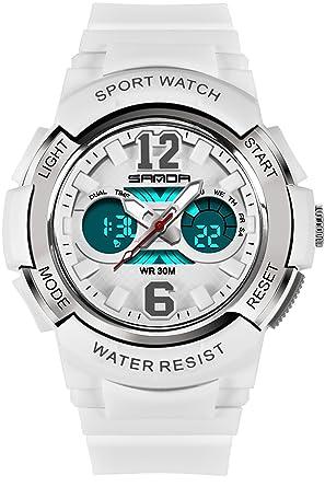 Sanda niños reloj Digital para niños deporte al aire libre analógico alarma niños niñas LED electrónica relojes de pulsera Blanco: Amazon.es: Relojes