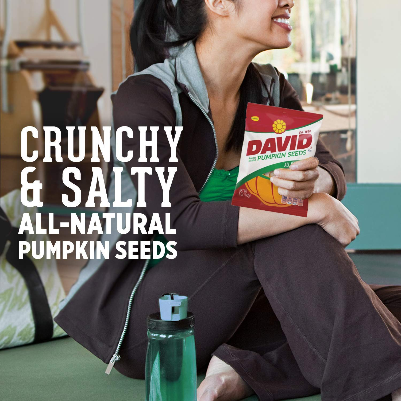 DAVID Roasted and Salted Pumpkin Seeds, 5 oz, 12 Pack (24 Pack)