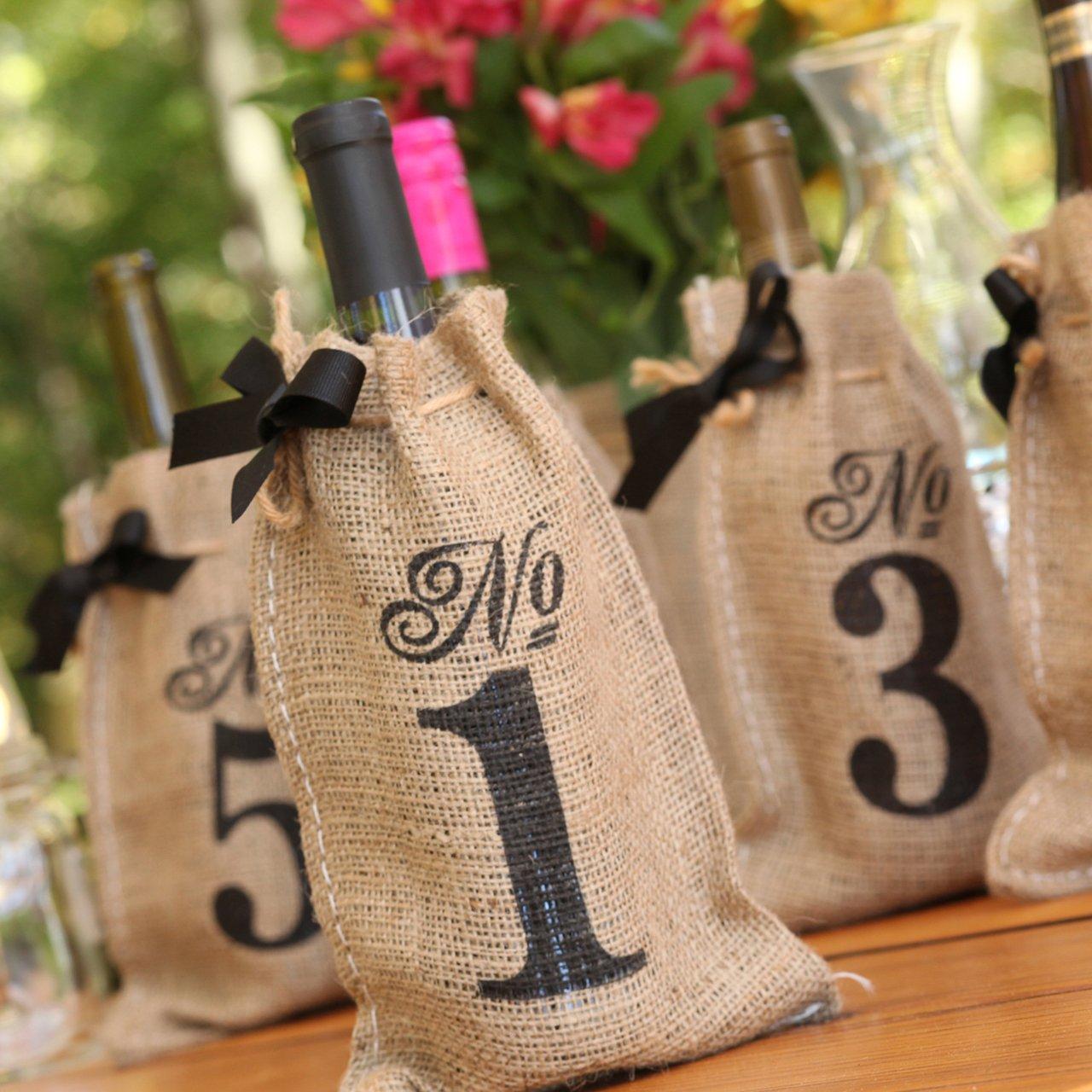 Amazon.com: Hortense B. Hewitt Burlap Table Number Wine Bags Wedding ...