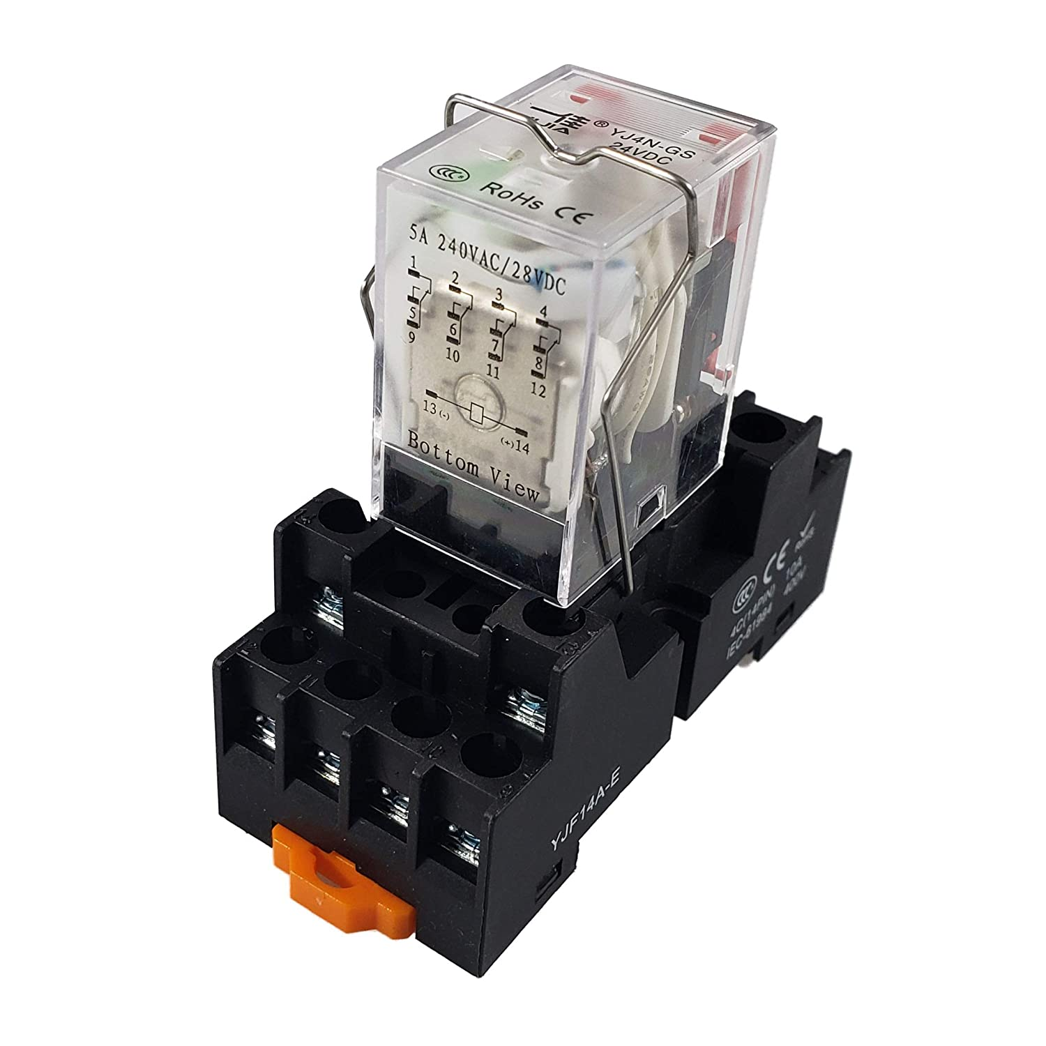 API-ELE 24V DC 3 Year Warranty Electromagnetic Power Relay MY4NJ HH53P Coil 4PDT 4NO+4NC 14 Pins 5A with Indicator Light With Base