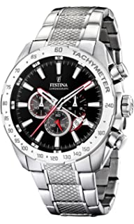 Festina Mens F16488/5 Silver Stainless-Steel Quartz Watch with Black Dial