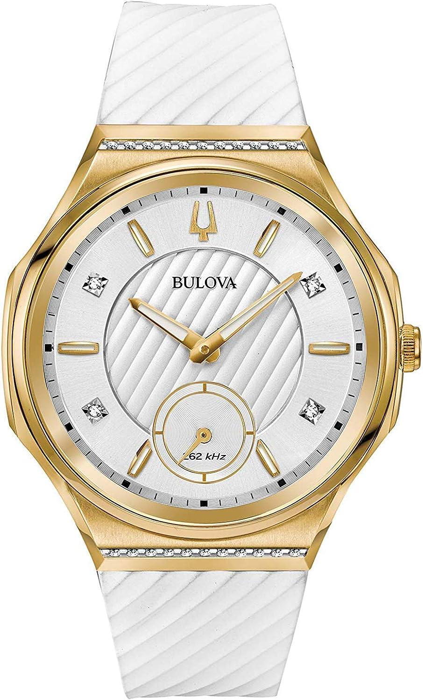 Bulova Reloj Analógico para Mujer de Cuarzo con Correa en Goma 98R237