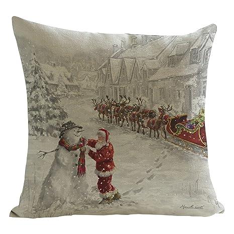 ZARU Impresión de Navidad Sofá cama cubierta de almohadas Cojín decoración del hogar Z-2 (B)