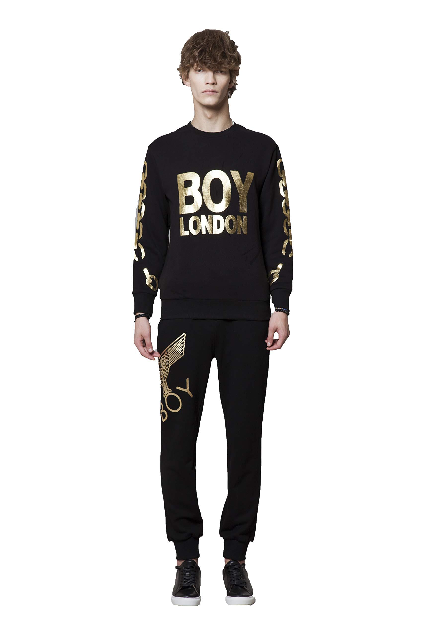 BOY LONDON Silver Chain Printed on Sleeves Sweatshirt-Black-Gold, Medium - BG4TL021
