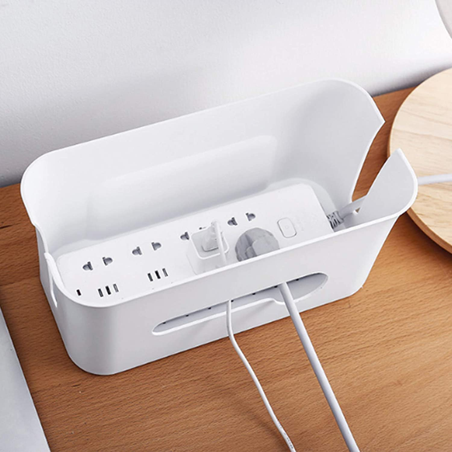 with Lid Cable Organizer Box to Cover and Hide Extension Lead /& Cord with 10 Cable Tidy Bases Cable Storage Box Organiser