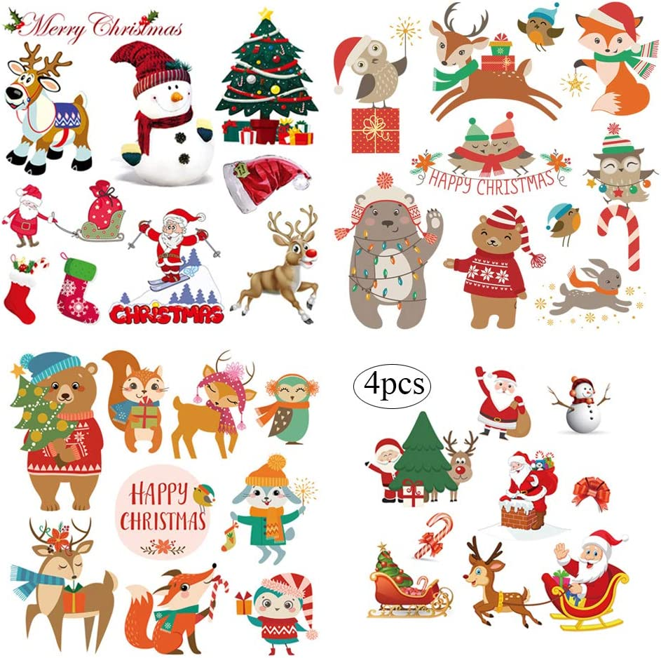 XMAS Patches Christmas Heat Transfer Iron on Appliques for Jackets T-Shirt Jeans Pillow Backpacks Clothes Decorations Sticker with Santa Claus Snowman Elk Animals Candies Trees Design 4PCS Party Favor