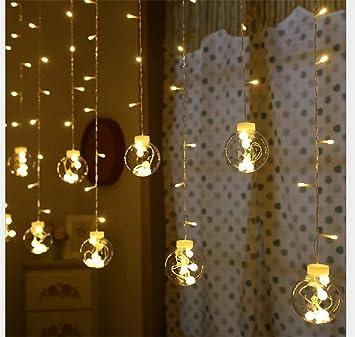 Wlittle Led Lichtervorhang Mit Batterie Warmweiss Weihnachtsdeko Fur