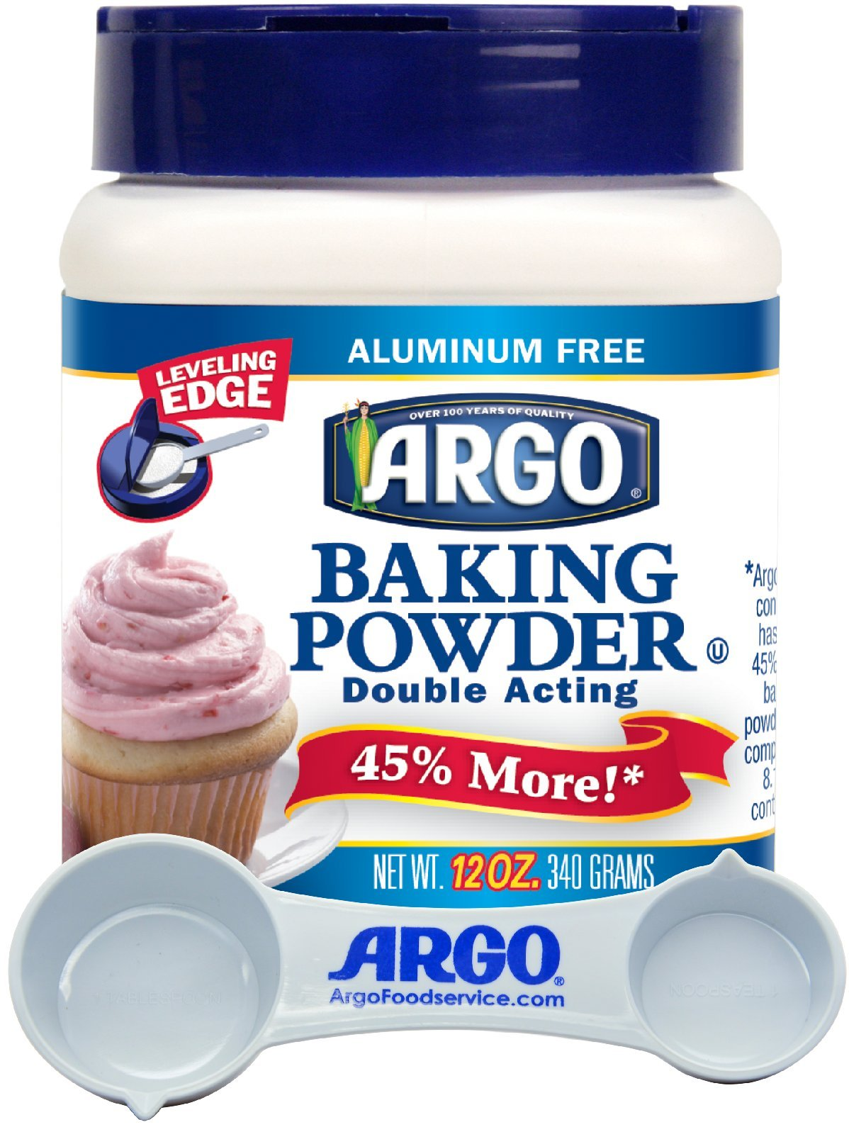 Argo - Double Acting, Aluminum Free Baking Powder, 12 Ounce Resealable Plastic Container - with Argo Measuring Spoon