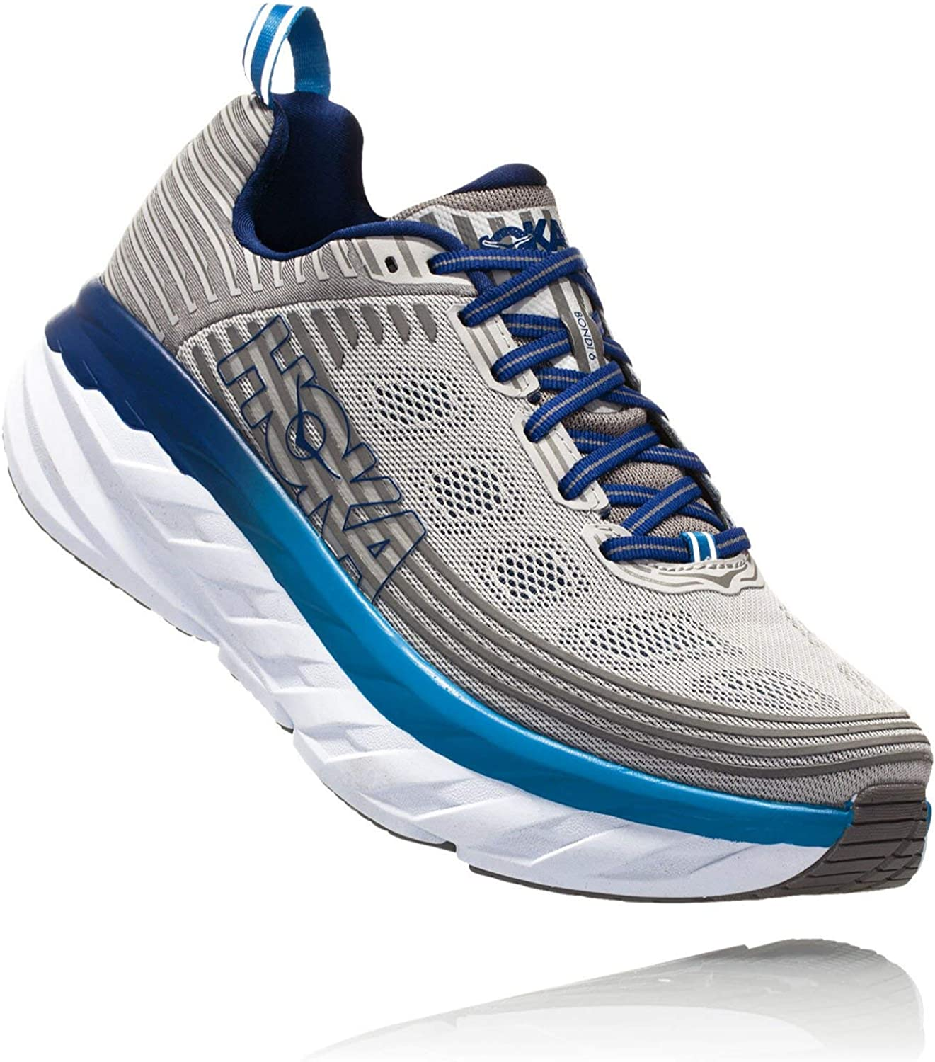 HOKA ONE ONE Mens Bondi 6 Blue Frost Gray Running Shoe – 10.5