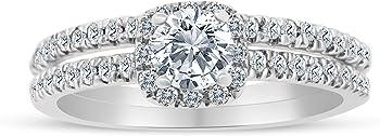 SK Jewel Inc 5/8ctw Diamond Halo Bridal Set Engagement Ring
