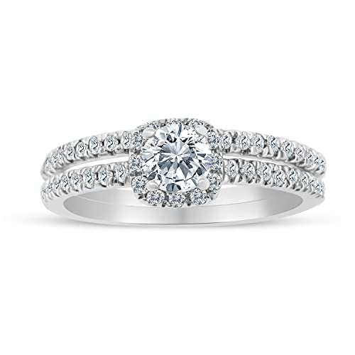 5/8ctw Diamond Halo Bridal Set Engagement Ring in 10k White Gold