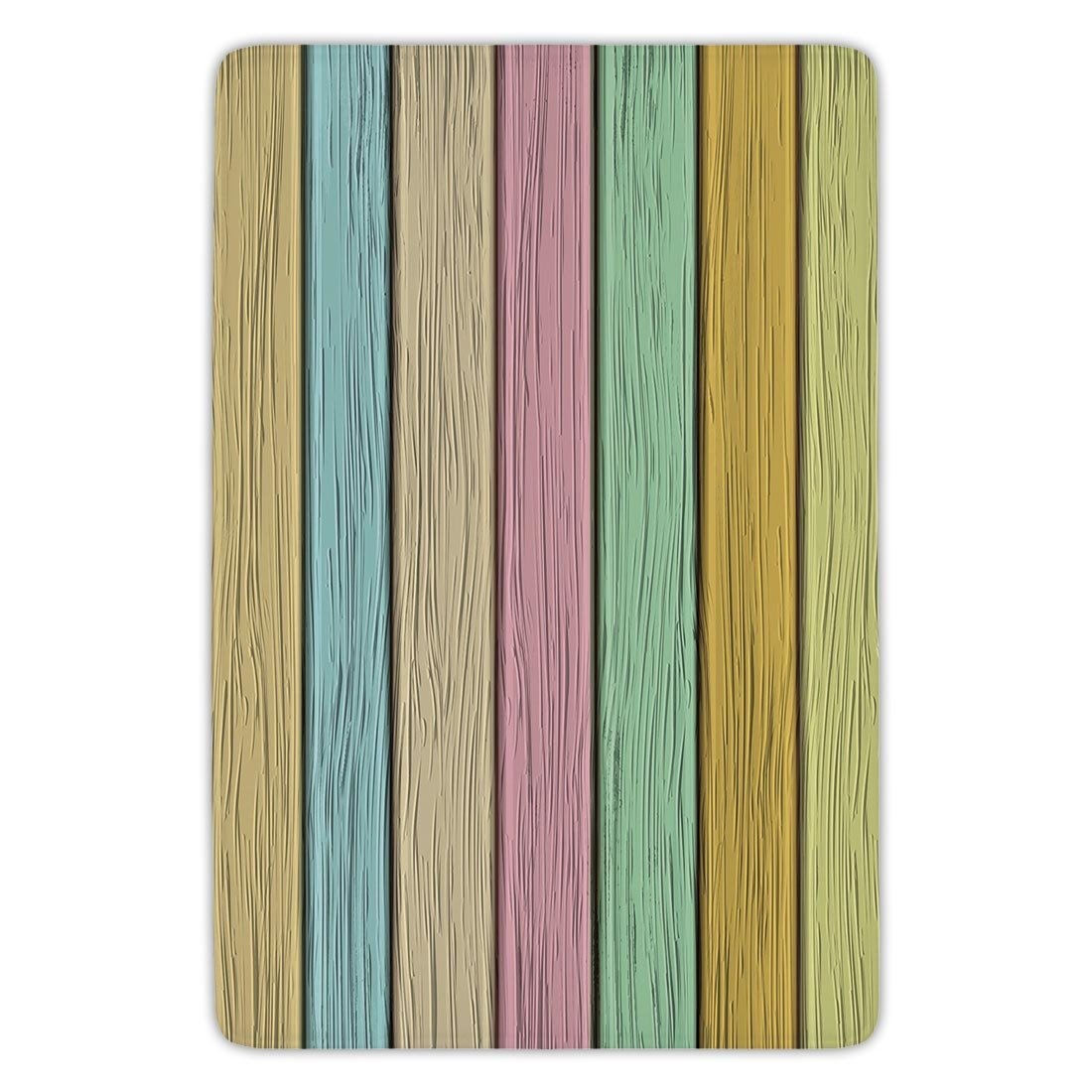 Bathroom Bath Rug Kitchen Floor Mat Carpet,Pastel,Colorful Old Wooden Planks Timber Texture Rustic Farmhouse Country Home Decor Print Decorative,Multicolor,Flannel Microfiber Non-slip Soft Absorbent