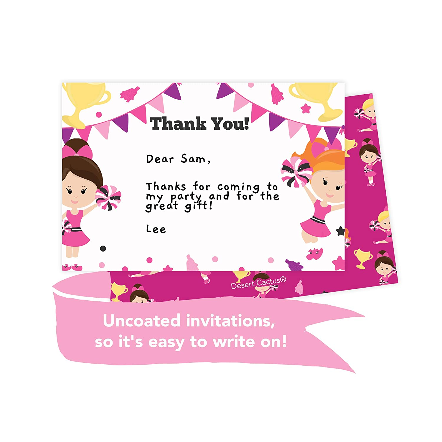 25 Count With Envelopes /& Seal Stickers Vinyl Girls Boys Kids Party Desert Cactus Movies 1 Happy Birthday Invitations Invite Cards