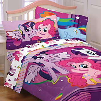 Wonderful Amazon.com: My Little Pony 4pc Twin Comforter And Sheet Set Bedding  Collection Purple Pink: Home U0026 Kitchen
