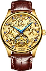 AILANG 3D Animal Skeleton Self Winding Automatic Sapphire Men Brown Leather Tourbillon Mechanical Watches