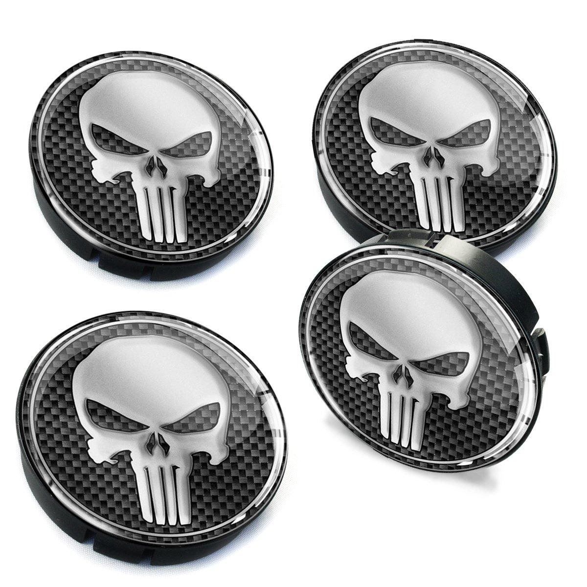 Skinotm 4/x 60/mm Voiture Centre de Roue Caps Jante Punisher T/ête de Mort Argent en Forme de d/ôme Badge v/éhicule Auto Tuning Embl/ème C 2