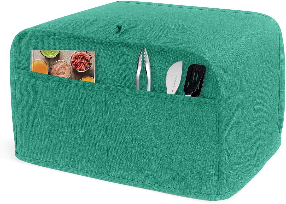 LUXJA 2 Slice Toaster Cover (11 x 7.5 x 8 inches), Toaster Cover with 2 Pockets (Fits for Most Major 2 Slice Toasters), Green