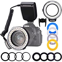 Ringblitz, Shotory LED Makrofotografie Flashing Lights mit LCD-Display Power Control, Mit adapterringen und Blitzdiffusoren für Nikon Canon und andere DSLR Kameras
