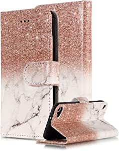 Marble Wallet Case for iPod Touch 5th/6th Generation,Card Holder Wallet for Women,Areall Colorful Hybrid Flip Folio Kickstand Shockproof Full Protective Phone Cover for iPod Touch 5,Rose Gold White