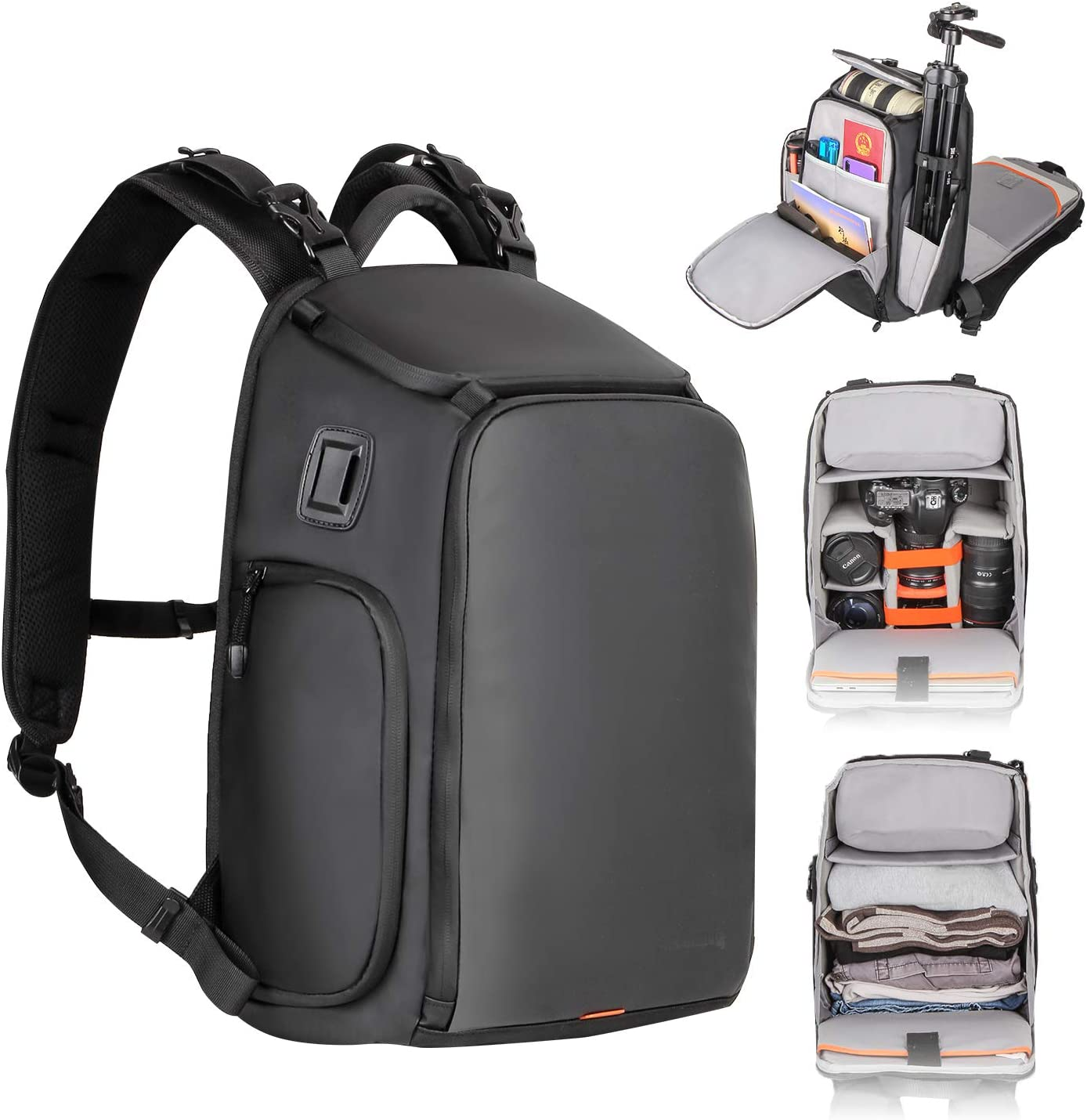 Besnfoto Small Camera Backpack Waterproof for SLR/DSLR Mirrorless Camera with Laptop Compartment Photographer Backpack Bag for Hiking Traveling with Rain Cover