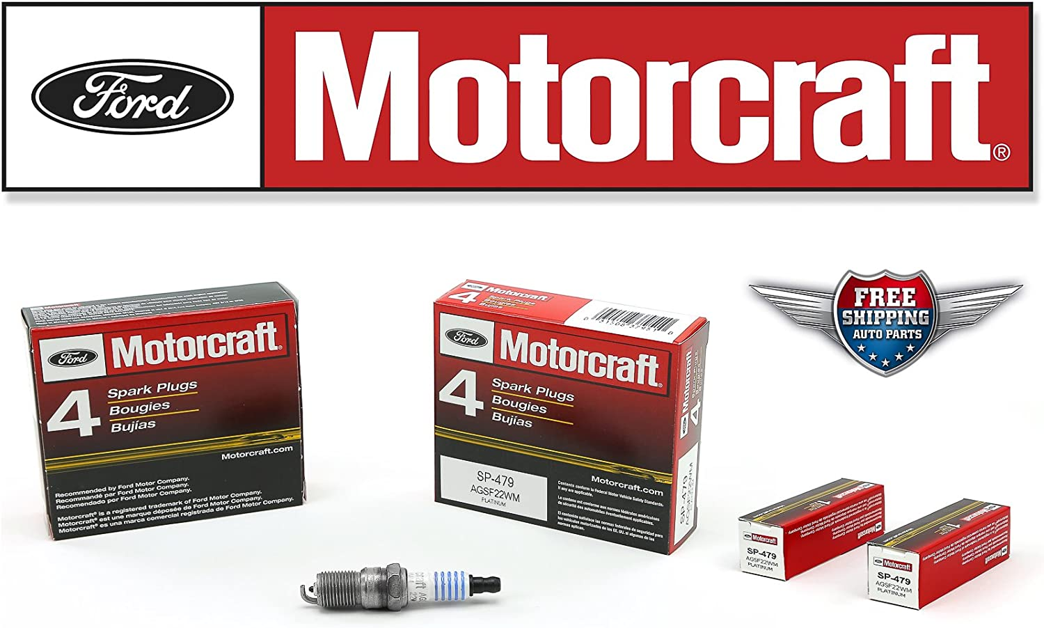 Set of 4 Genuine Ford Motorcraft Platinum Spark Plugs SP-479 AGSF22WM Free Ship
